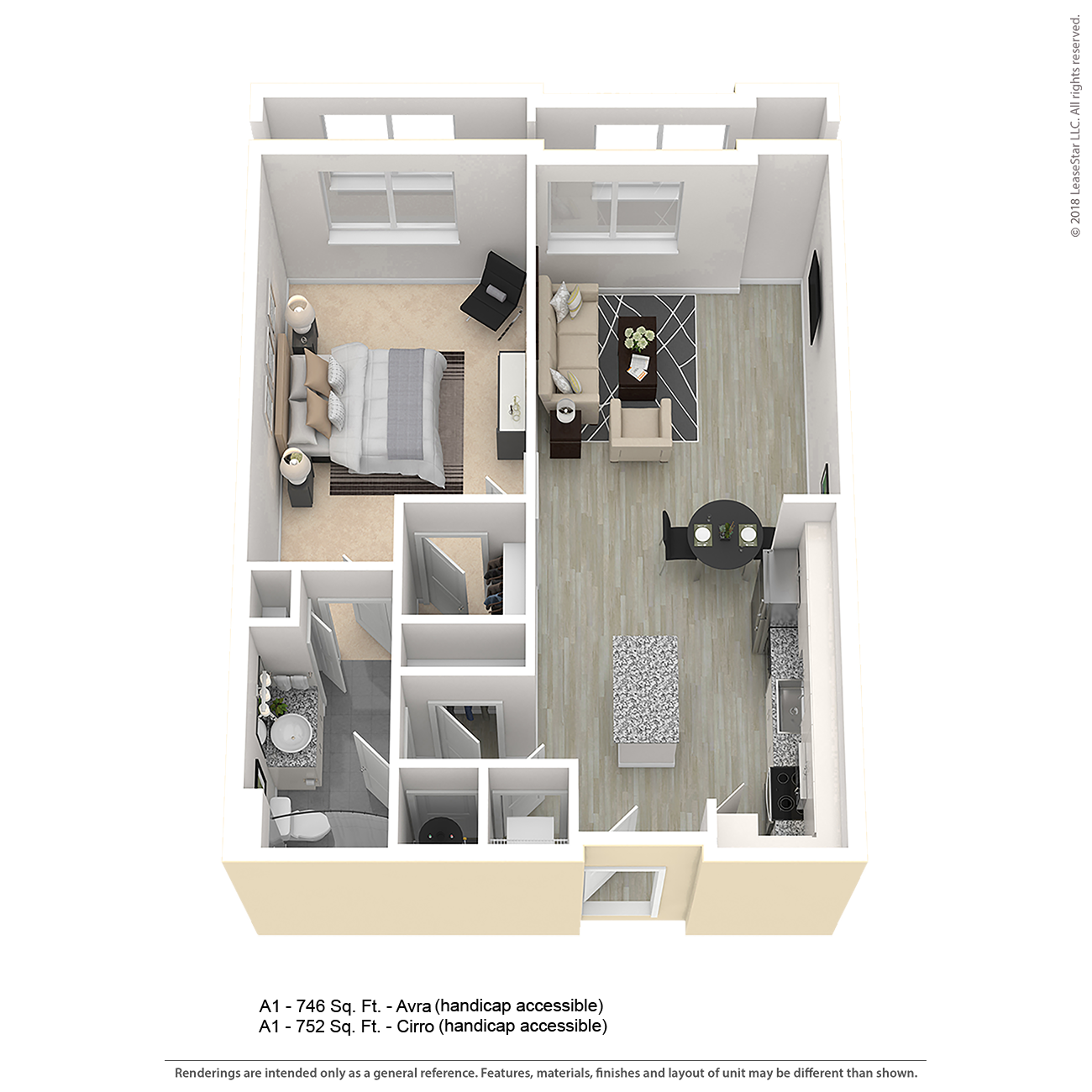Center West Apartments Baltimore Md: A1 Apartment Floor Plan