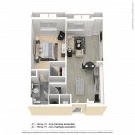 One bedroom apartment floor plan for CenterWest luxury apartments in downtown Baltimore MD