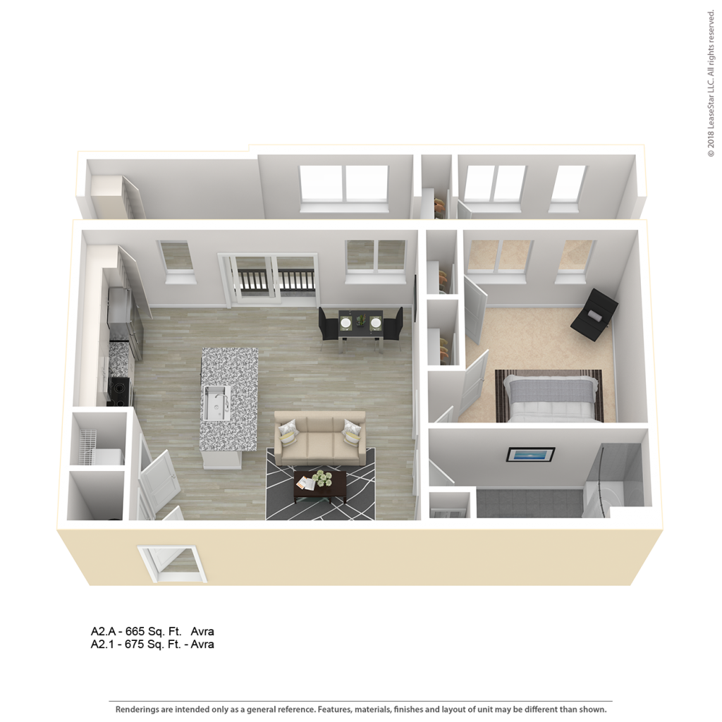 AVRA A2 One Bedroom Apartment Floor Plan | Center/West Baltimore