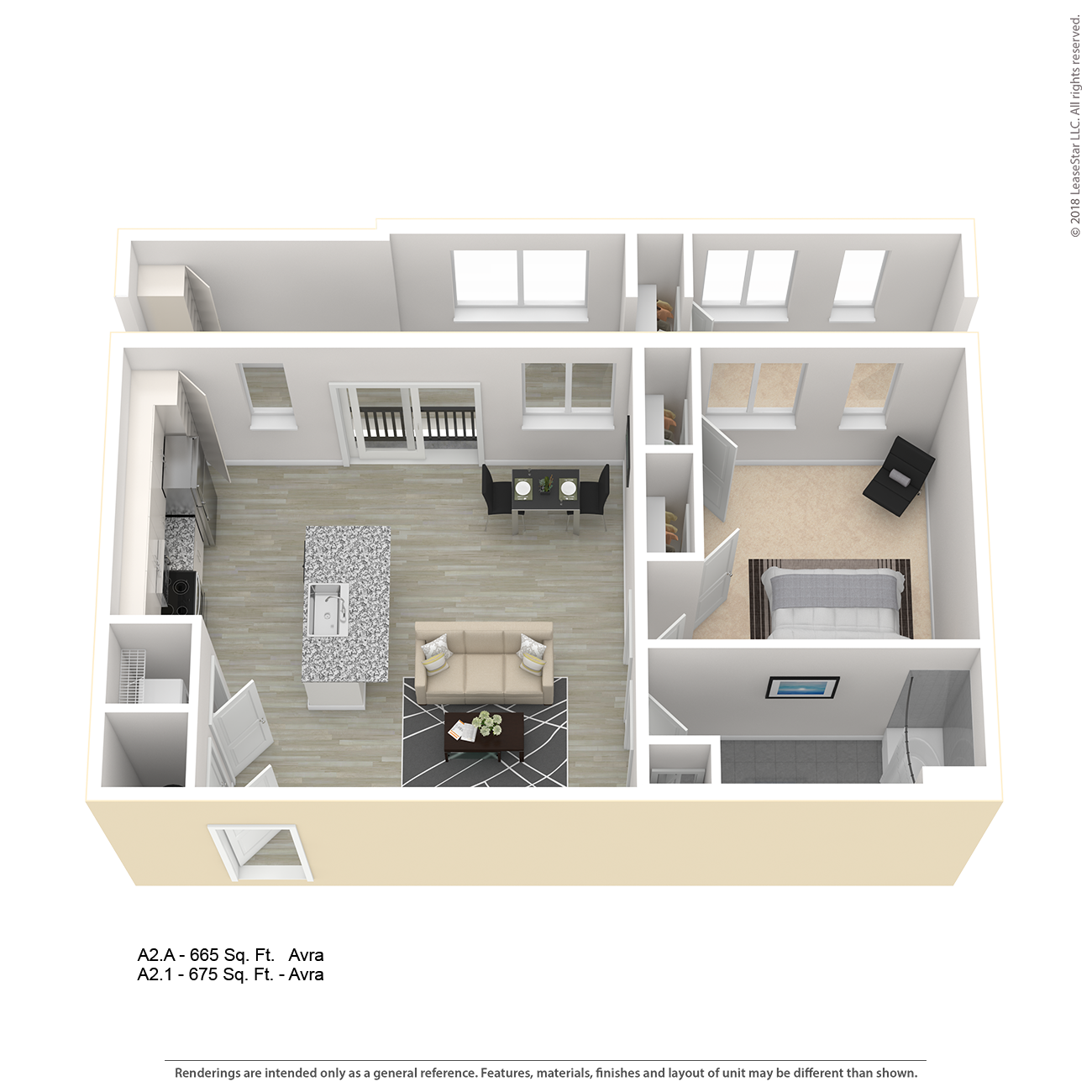 Center West Apartments Baltimore Md: AVRA A2 One Bedroom Apartment Floor Plan