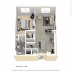 One bedroom apartment floor plan for CenterWest Avra luxury apartments in downtown Baltimore MD