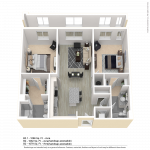 CenterWest Baltimore Two Bedroom Apartment Floor Plan