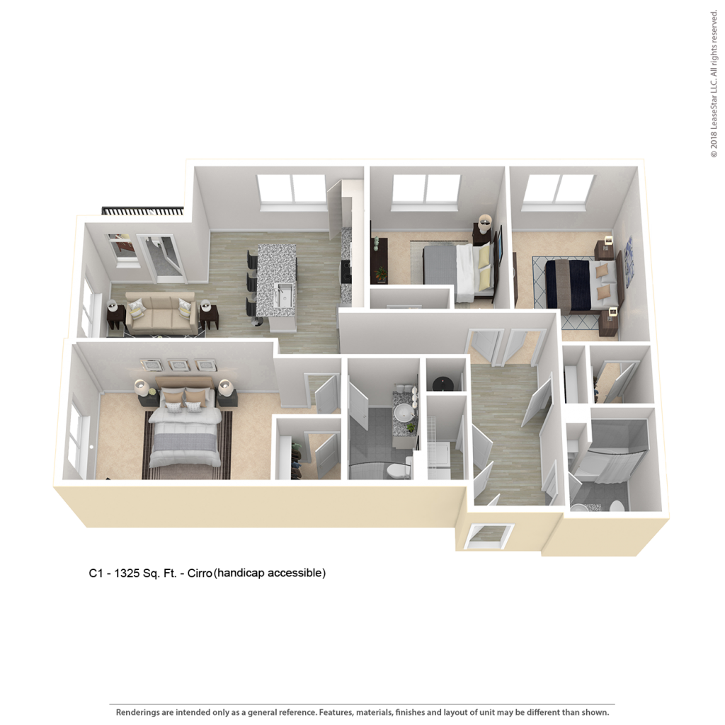 Three bedroom apartment floor plan for CenterWest luxury apartments in downtown Baltimore MD
