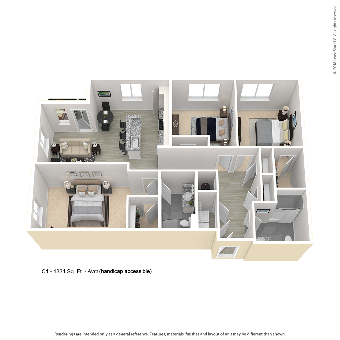 Center West Apartments Baltimore Md: AVRA C1 Three Bedrooms Apartment Floor Plan