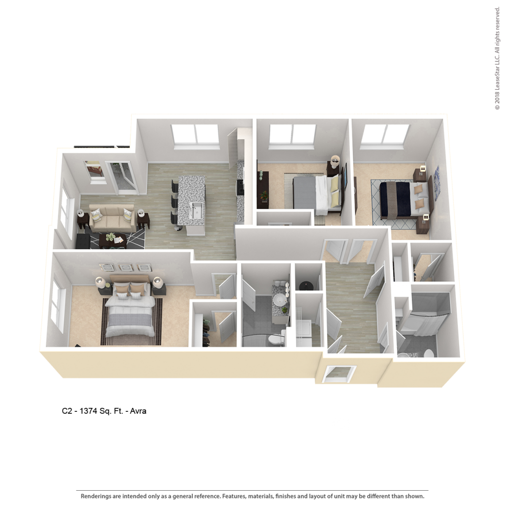 Three bedroom apartment floor plan for CenterWest Avra luxury apartments in downtown Baltimore MD