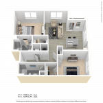 Two bedroom apartment floor plan for CenterWest luxury apartments in downtown Baltimore MD