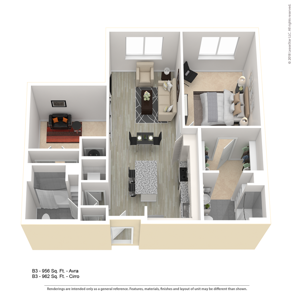 One bedroom with den apartment floor plan for Center\West luxury apartments in downtown Baltimore MD