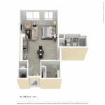 Studio apartment floor plan for CenterWest luxury apartments in downtown Baltimore MD