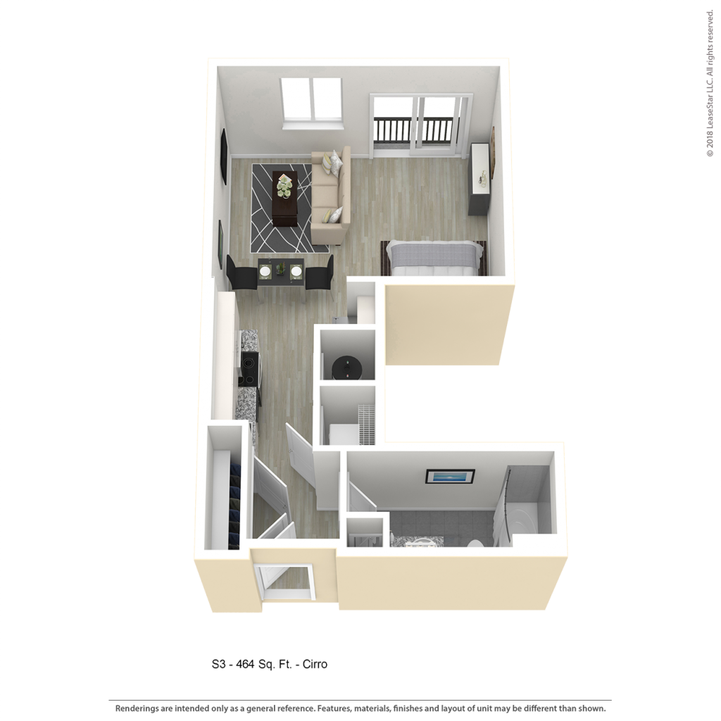 CIRRO S3 Studio Apartment Floor Plan | Center/West Baltimore