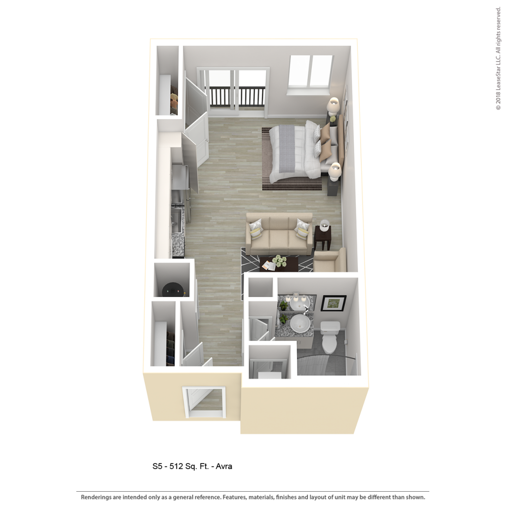 AVRA S5 Studio Apartment Floor Plan | Center/West Baltimore